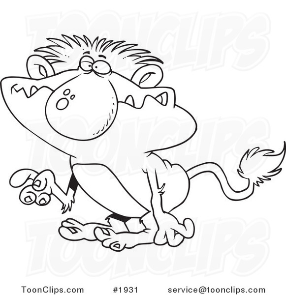 Cartoon Black And White Line Drawing Of A Troll Gesturing .