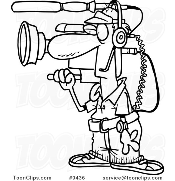cartoon black and white line drawing of a working camera