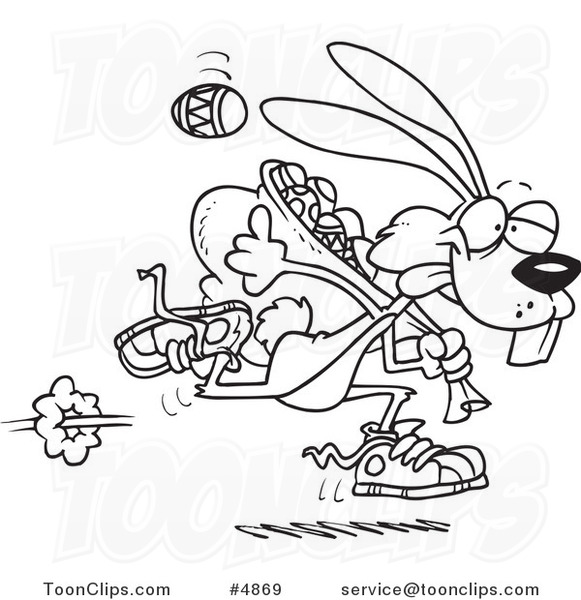 Line Art Easter Bunny : Cartoon black and white line drawing of an easter bunny
