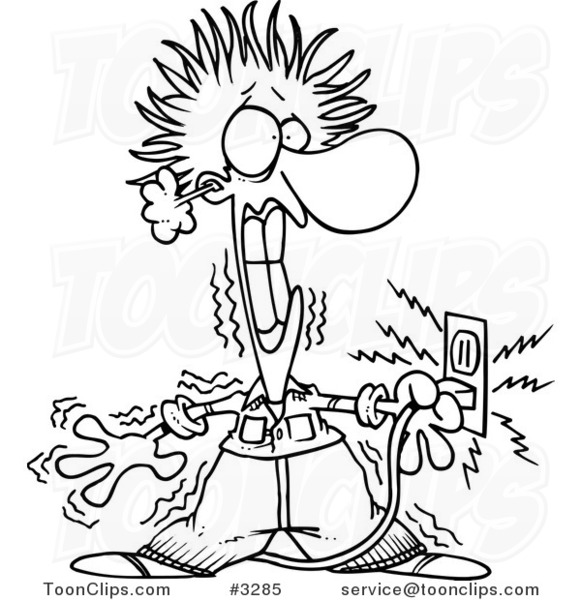 Coloring Page With The Electrician: Cartoon Black And White Line Drawing Of An Electrician