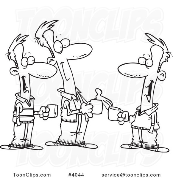 Cartoon Black and White Line Drawing of Three Brothers ...