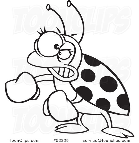 vector of a mad cartoon ladybug with boxing gloves