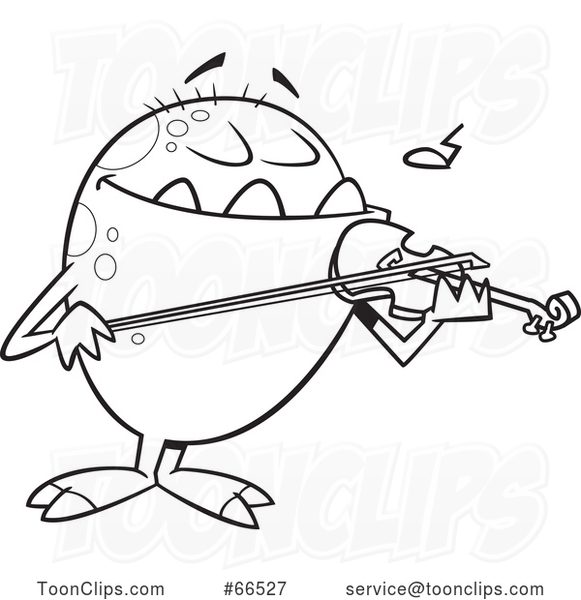 Cartoon Black and White Monster Playing a Violin