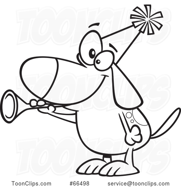 Cartoon Black and White New Years Dog Blowing a Horn