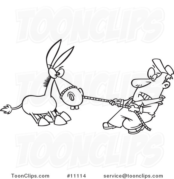 Cartoon Black and White Outline Design of a Farmer Pulling ...