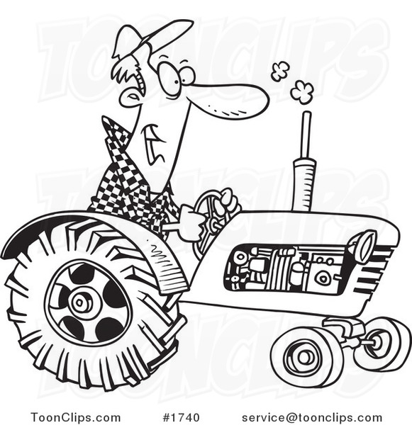 Cartoon Black and White Outline Design of a Tractor Driver 1740