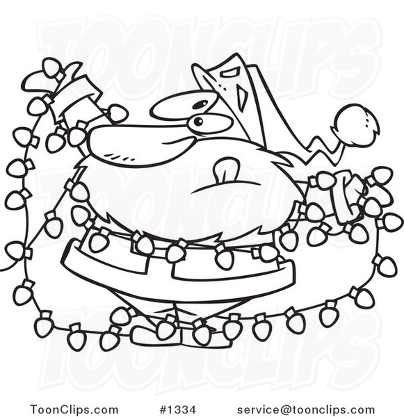 Cartoon black and white outline design of santa tangled in