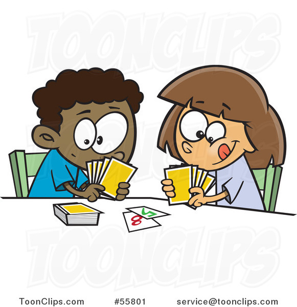 Cartoon Black Boy and White Girl Playing a Go Fish Card Game