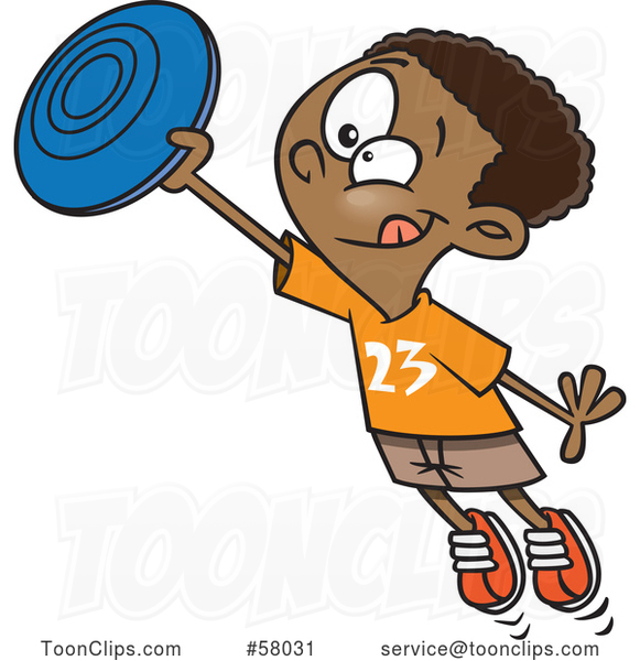 Cartoon Black Boy Catching a Frisbee