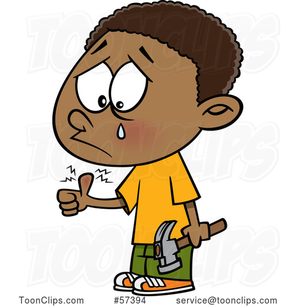 Cartoon Black Boy Crying After Banging His Thumb with a Hammer
