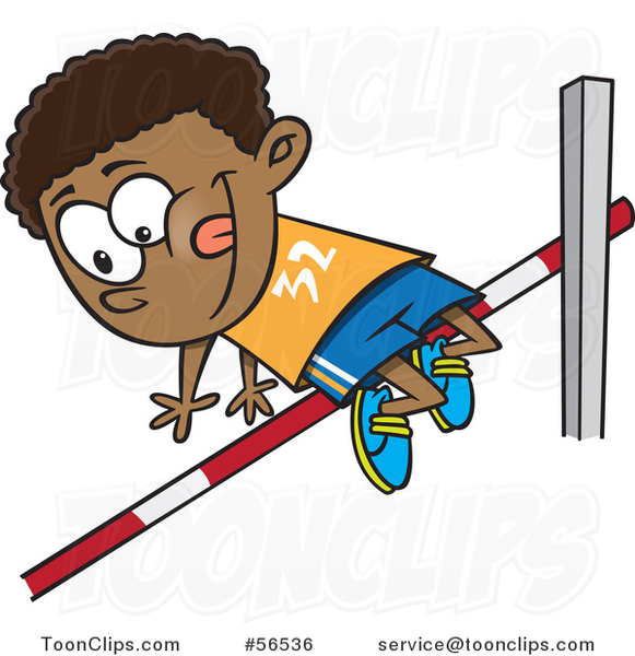Cartoon Black Boy Doing a Track and Field High Jump