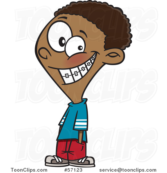 Cartoon Black Boy Grinning and Showing His Braces