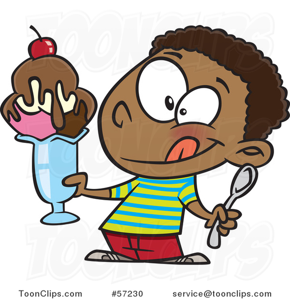 Cartoon Black Boy Holding a Big Ice Cream Sundae