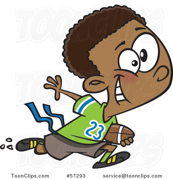 Cartoon Black Boy Playing Flag Football