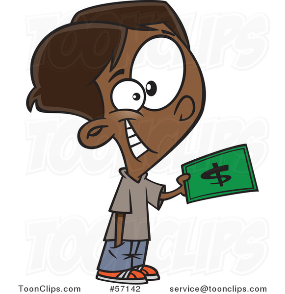 Cartoon Black Boy Purchasing Something with Cash Money