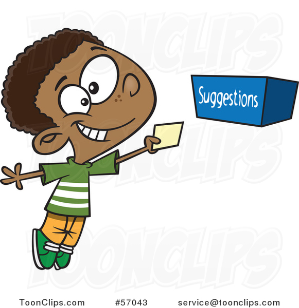 Cartoon Black Boy Putting A Note In Suggestion Box
