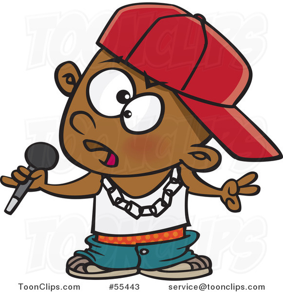 Cartoon Black Boy Rapper Musician Holding a Microphone