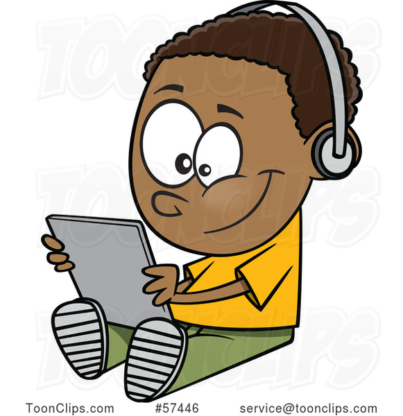 Cartoon Black Boy Sitting on the Floor and Playing with a Tablet, or Listening to an Audio Book