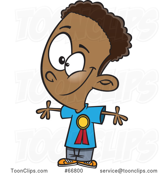 Cartoon Black Boy Wearing a Student of the Month Ribbon