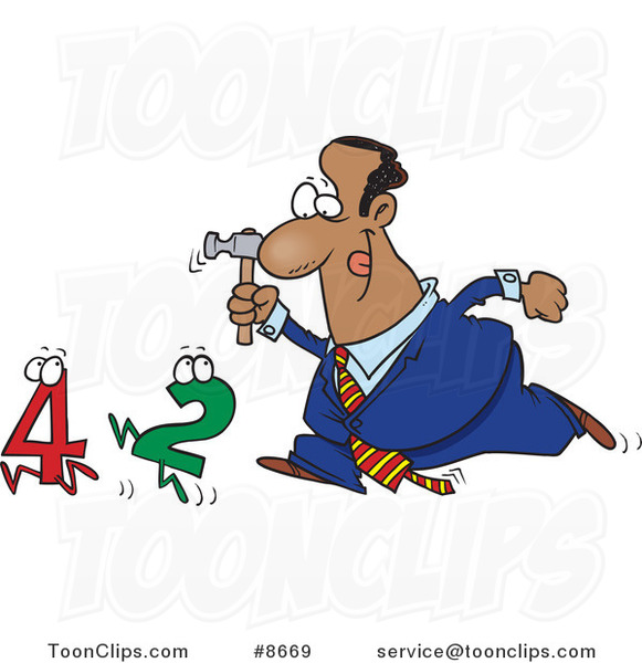 Cartoon Black Business Man Crunching Numbers