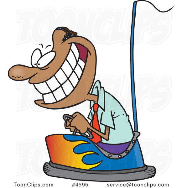 Cartoon Black Business Man Driving a Bumper Car