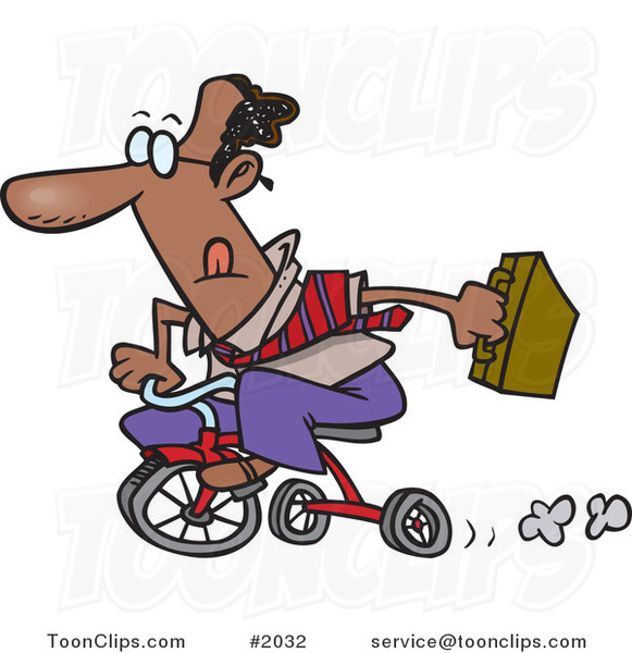 Cartoon Black Business Man Riding a Trike to Work