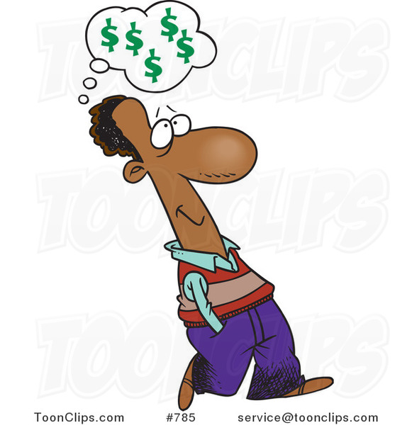 Cartoon Black Business Man Walking and Thinking About Finances