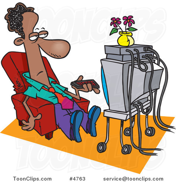 Cartoon Black Business Man Watching TV