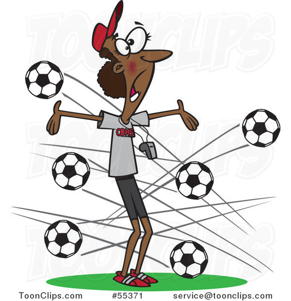 Cartoon Black Female Soccer Coach with Balls Flying at Her