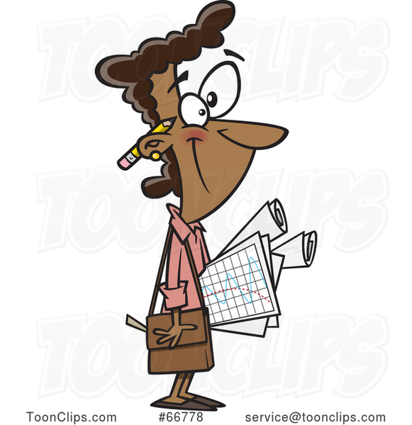 Cartoon Black Female Statistician Carrying Graphs
