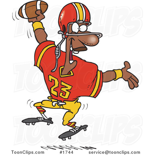 cartoon black football player scoring a touchdown 1744 by ron leishman
