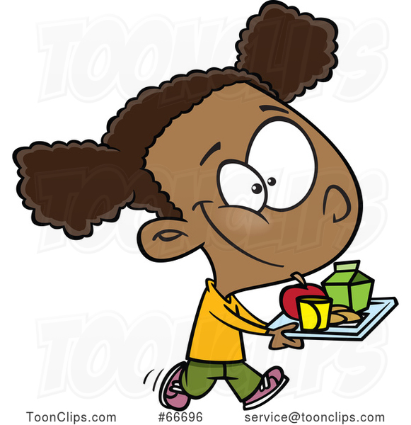 Cartoon Black Girl Carrying a Lunch Tray