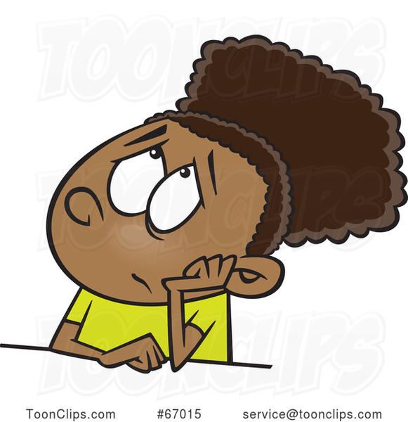 Cartoon Black Girl Looking Bored