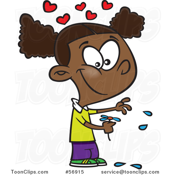 Cartoon Black Girl Playing He Loves Me Loves Me with Flower Petals