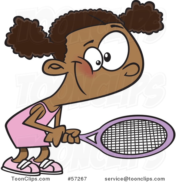 Cartoon Black Girl Playing Tennis