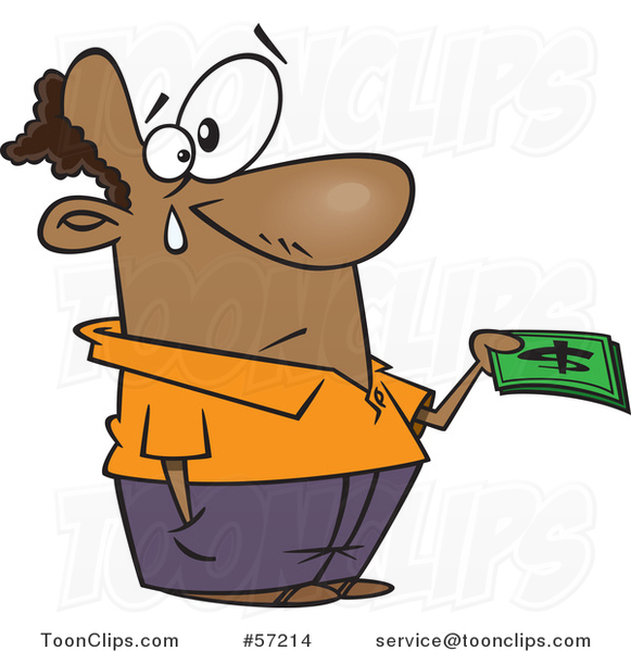 Cartoon Black Guy Crying and Parting with His Last Dollar Bills