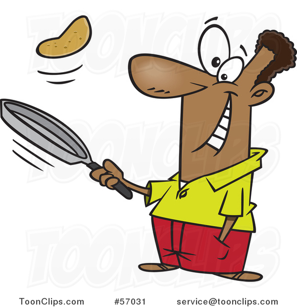 Cartoon Black Guy Flipping Pancakes