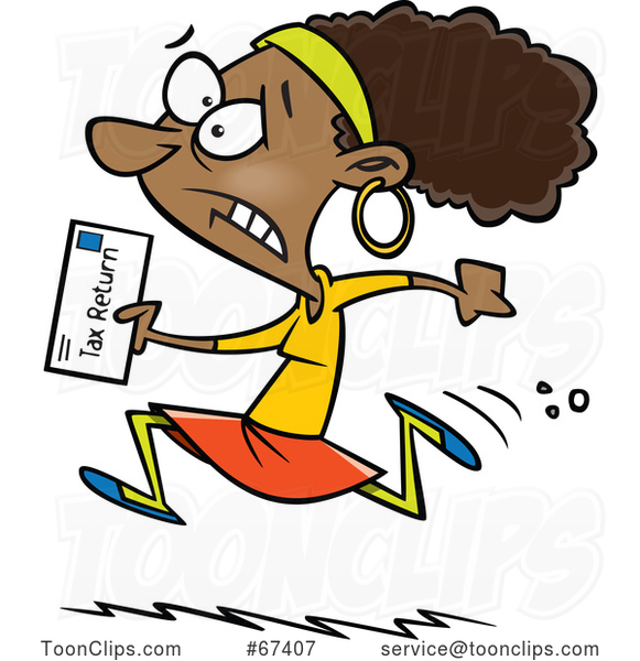 Cartoon Black Lady Running to File Taxes by the Deadline