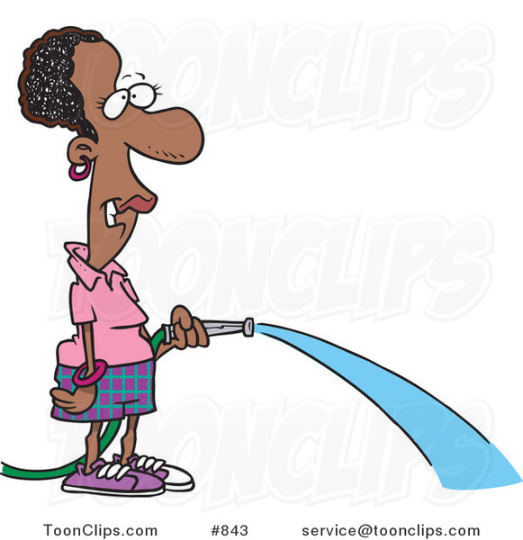 Cartoon Black Lady Watering with a Garden Hose