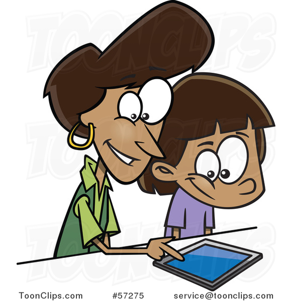 Cartoon Black Mother Teaching Her Daughter How to Use a Tablet Computer