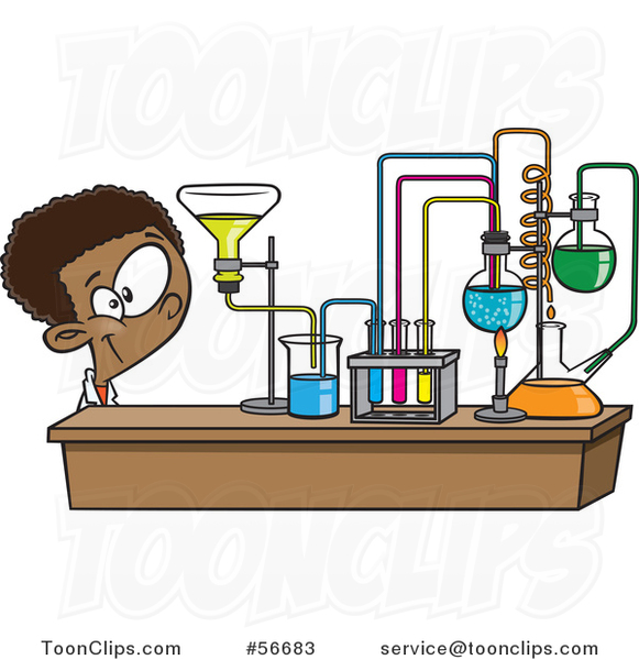 Cartoon Black School Boy Looking at His Lab Setup in Science Class