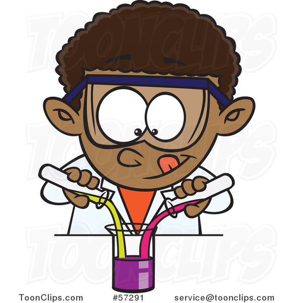 Cartoon Black School Boy Mixing Chemicals in Science Class