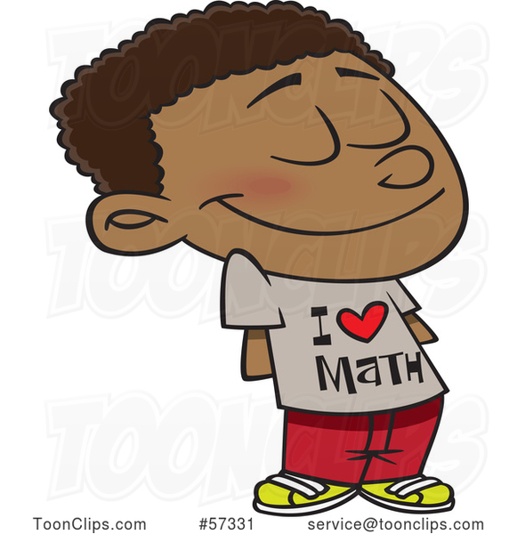 Cartoon Black School Boy Wearing an I Love Math Shirt