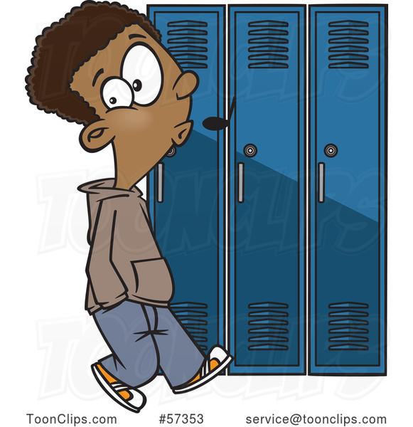 Cartoon Black School Boy Whistling and Sneaking Around Lockers