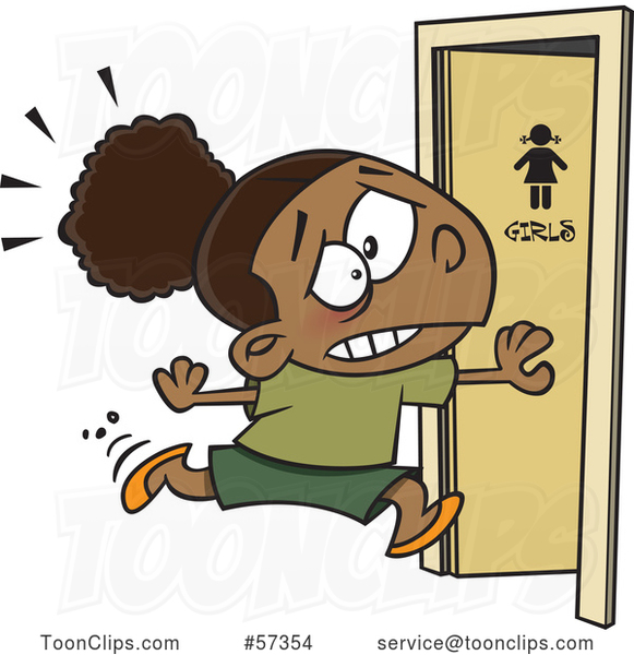 Cartoon Black School Girl Running to the Restroom