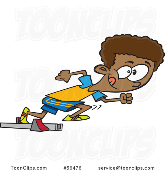 Cartoon Black Track and Field Boy Taking off in a Sprint