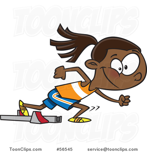 Cartoon Black Track and Field Girl Taking off for a Sprint