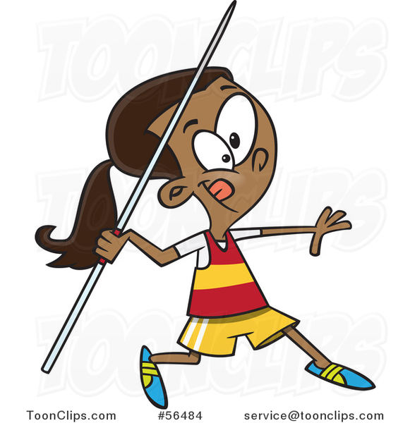 Cartoon Black Track and Field Girl Throwing a Javelin