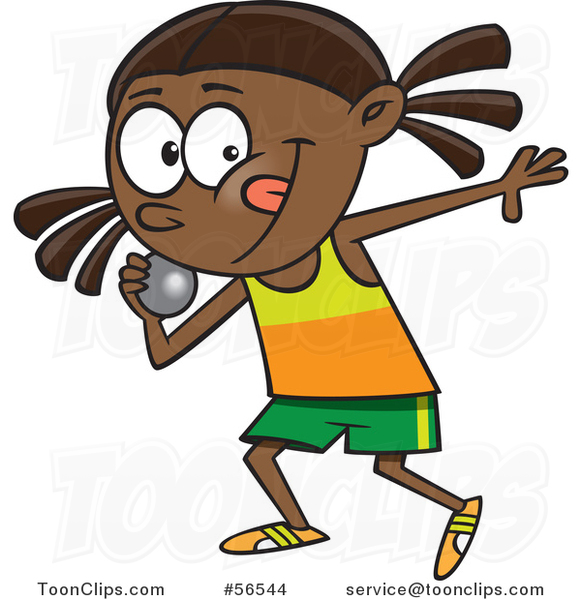 Cartoon Black Track and Field Girl Throwing a Shotput