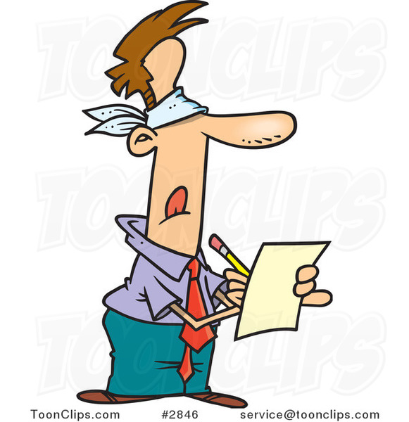 Cartoon Blindfolded Business Man Writing A Review 2846 By